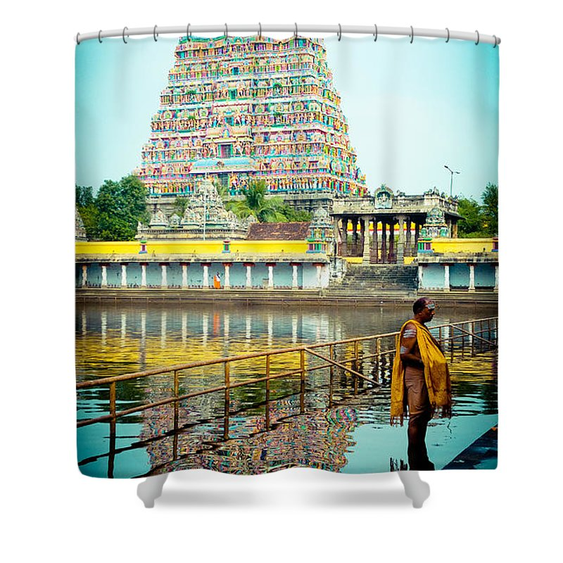 Water Shower Curtain featuring the photograph Chidambaram Temple Lord Shiva India by Raimond Klavins