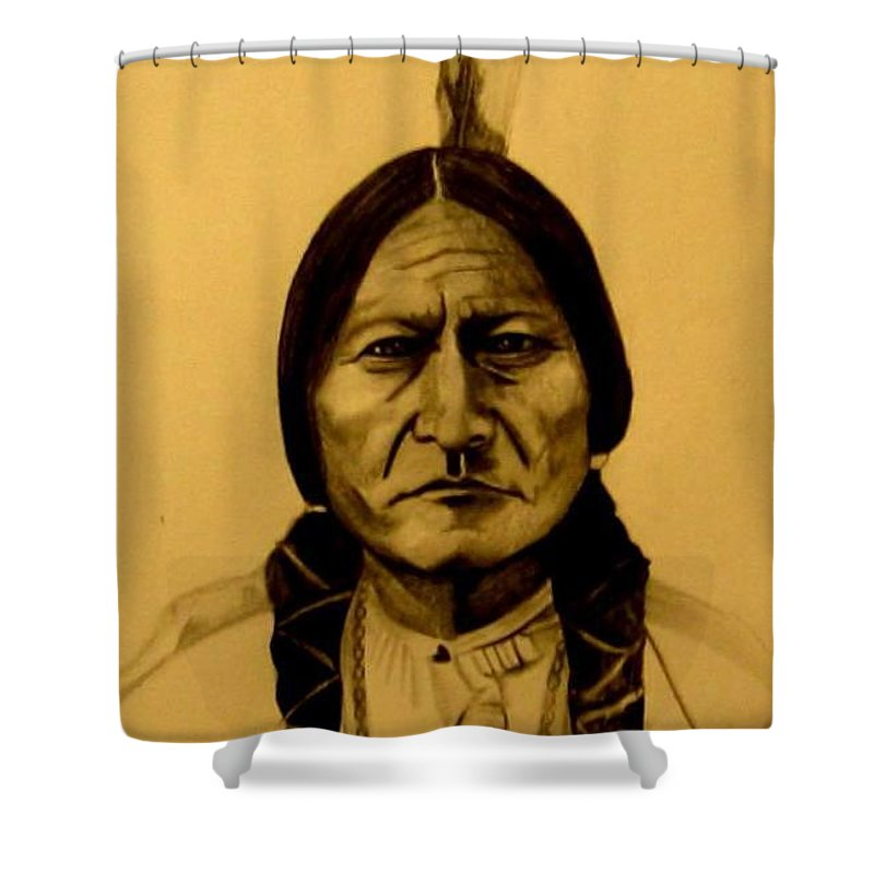 Portrait Shower Curtain featuring the drawing Chief Sitting Bull Tatanka Iyotake by Michelle Dallocchio