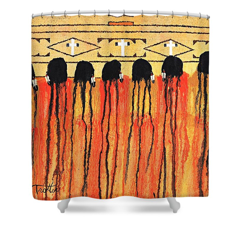Indians Shower Curtain featuring the painting Chiefs Blanket by Patrick Trotter