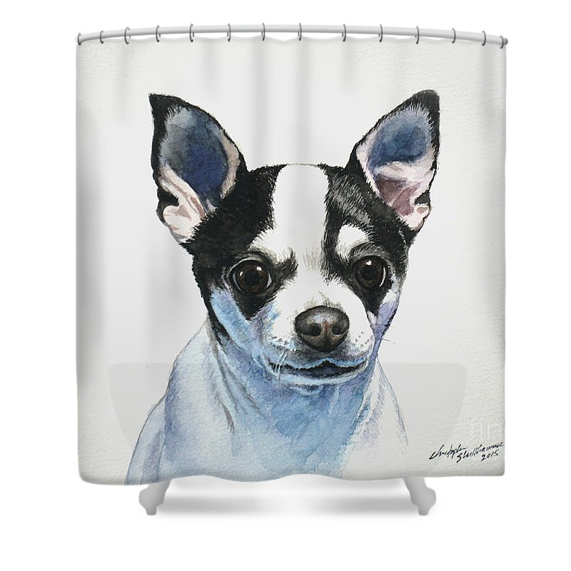 Chihuahua Black Spots With White Shower Curtain For Sale By Christopher Shellhammer