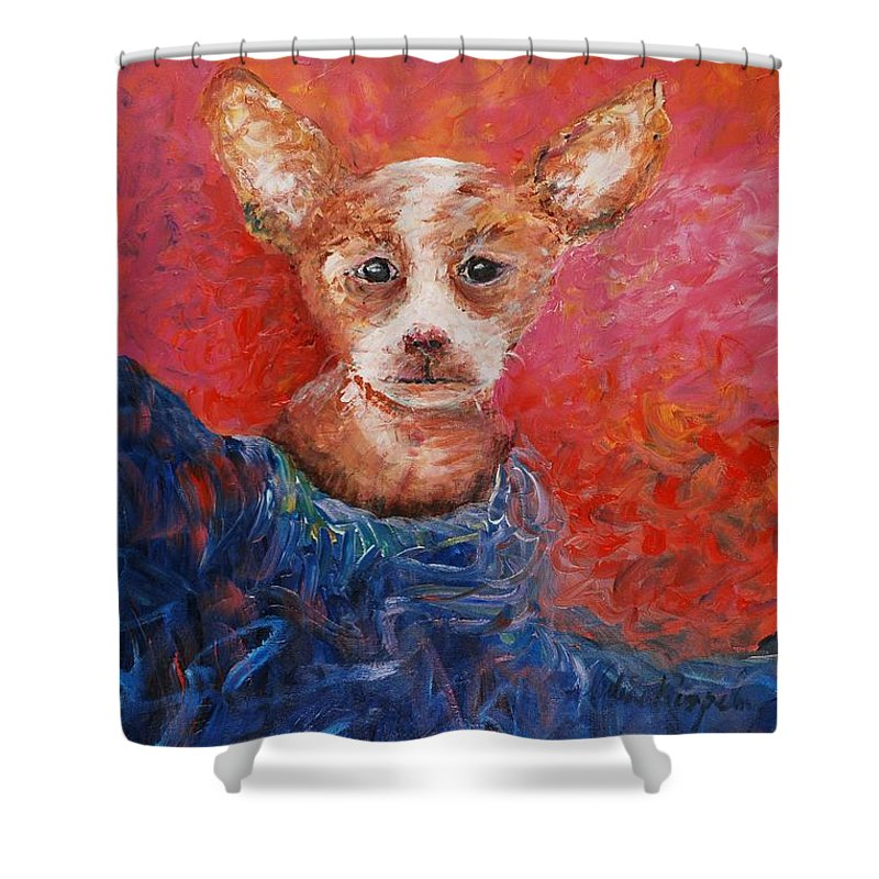 Dog Shower Curtain featuring the painting Chihuahua Blues by Nadine Rippelmeyer