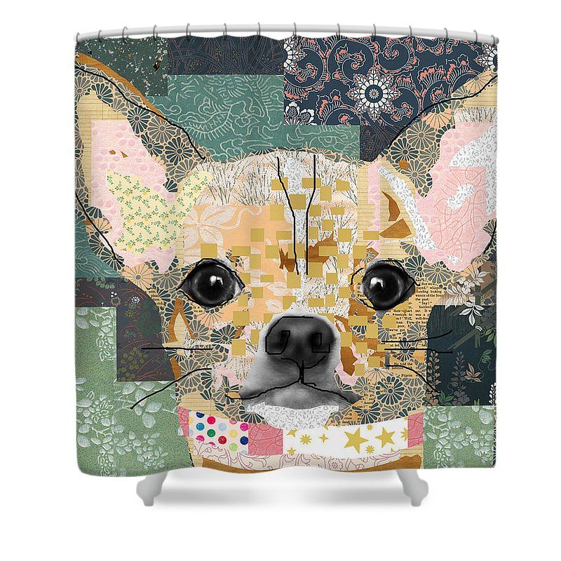 Chihuahua Shower Curtain Featuring The Mixed Media Collage By Claudia Schoen