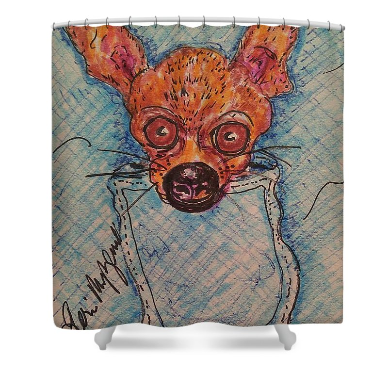 Chihuahua Shower Curtain featuring the painting Chihuahua In A Pocket by Geraldine Myszenski