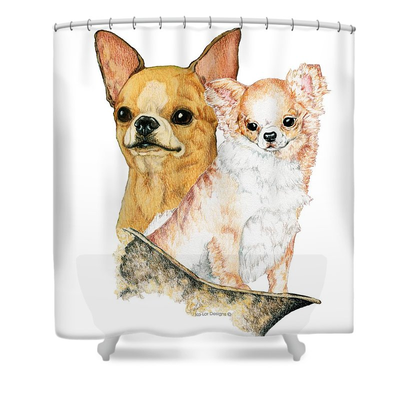 Chihuahua Shower Curtain featuring the drawing Chihuahuas by Kathleen Sepulveda