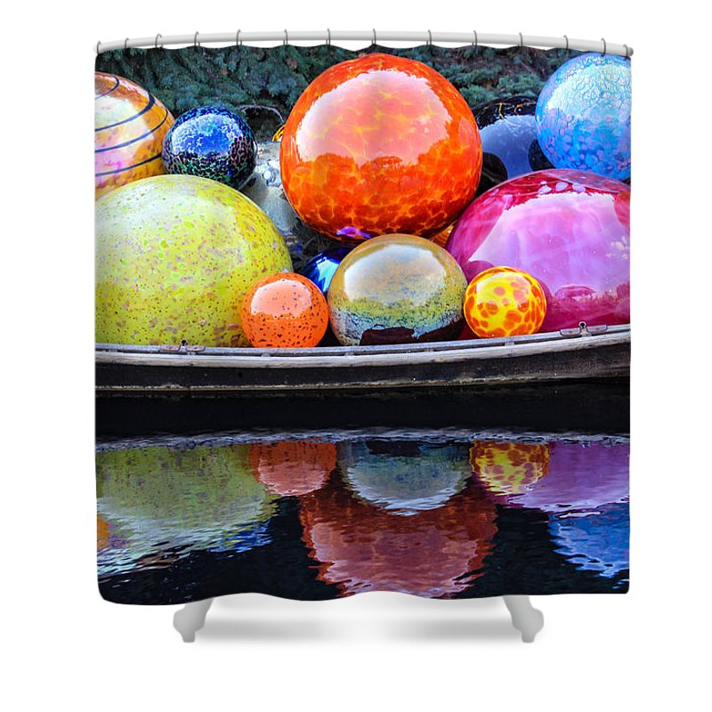 Art Shower Curtain featuring the photograph Chihuly Exhibit At The Denver Botanic Gardens by Becky Canterbury