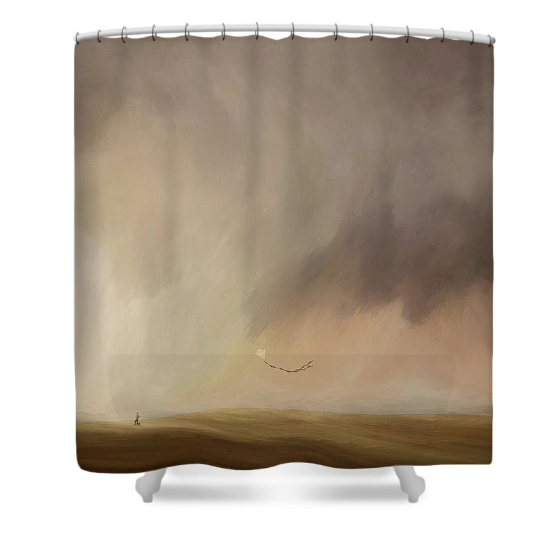 Childhood Shower Curtain featuring the mixed media Child At Play by Lonnie Christopher