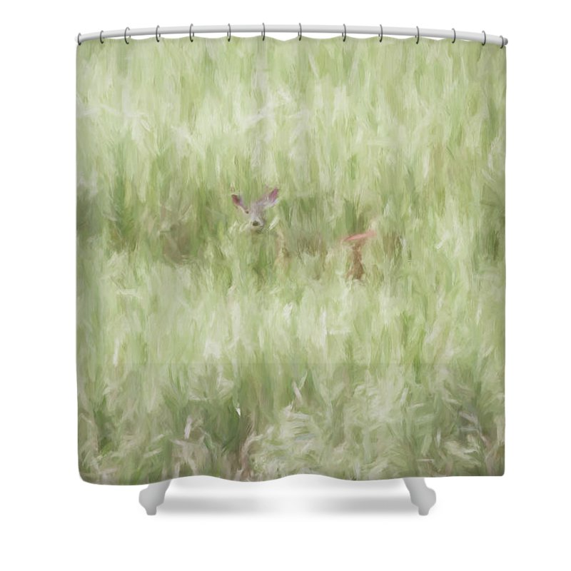 Digital Shower Curtain featuring the digital art Child Of The Meadows by Dawn J Benko