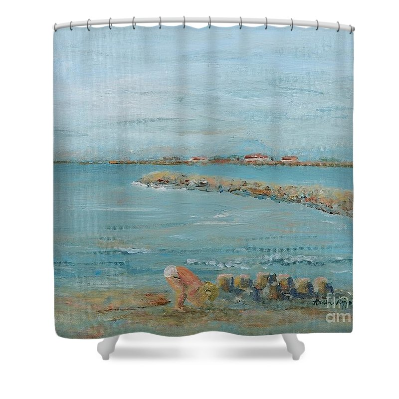 Beach Shower Curtain featuring the painting Child Playing At Provence Beach by Nadine Rippelmeyer