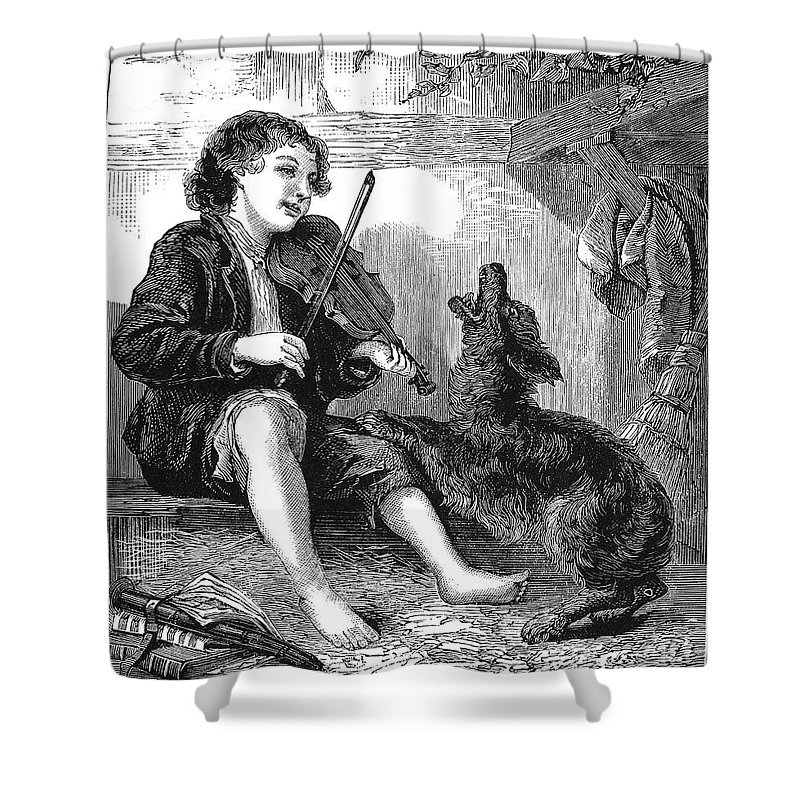19th Century Shower Curtain featuring the photograph Child Playing Violin by Granger