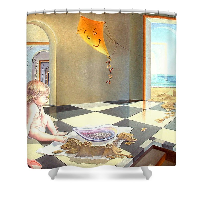 Art Oil Painting Surreal Child Childhood Freedom Shower Curtain featuring the painting Childhood by Gyuri Lohmuller