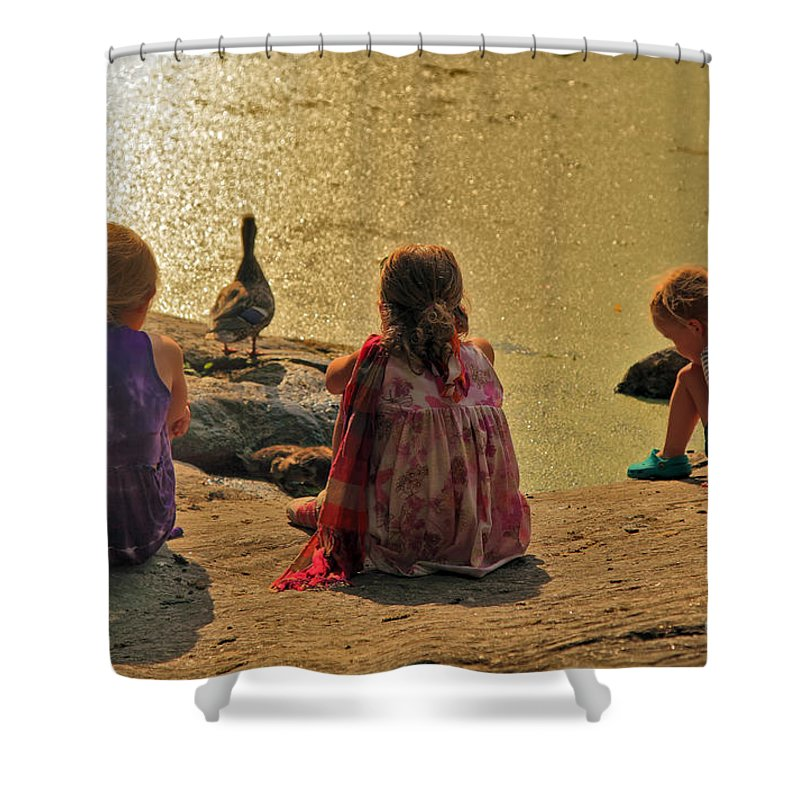 Children Shower Curtain featuring the photograph Children At The Pond 4 by Madeline Ellis