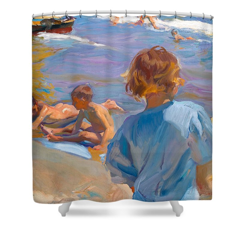 Joaquin Travel Towel: Children On The Beach. Valencia Shower Curtain For Sale By