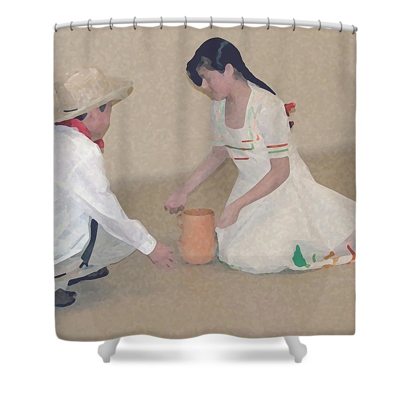 Children Shower Curtain featuring the digital art Children Playing by Robert Meanor