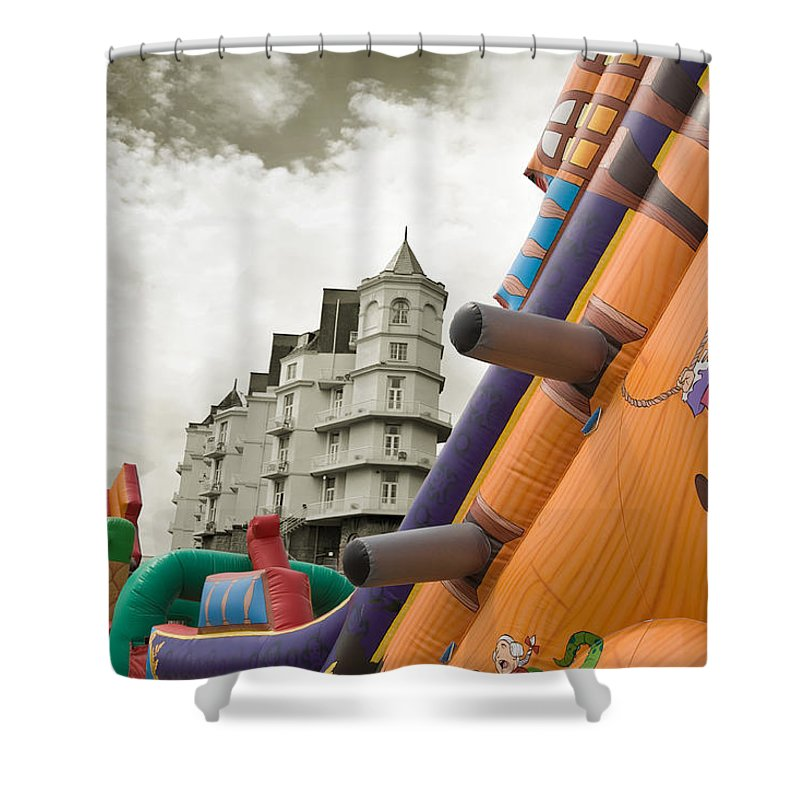 Childrens Shower Curtain featuring the photograph Childrens Play Areas Contrast With The Victorian Elegance Of The Grand Hotel In Llandudno Wales Uk by Mal Bray