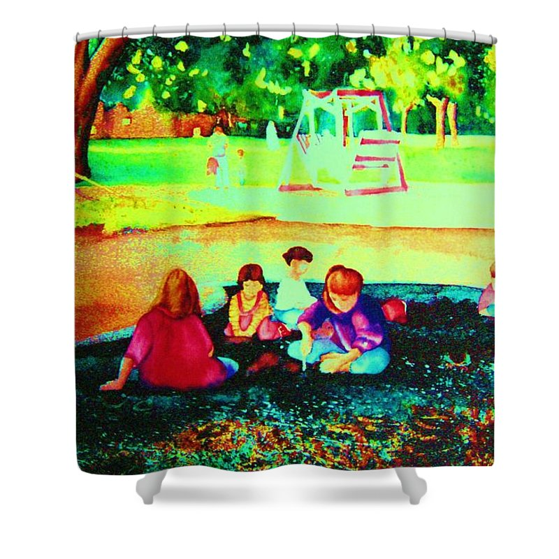 Central Park Shower Curtain featuring the painting Childs Play by Carole Spandau