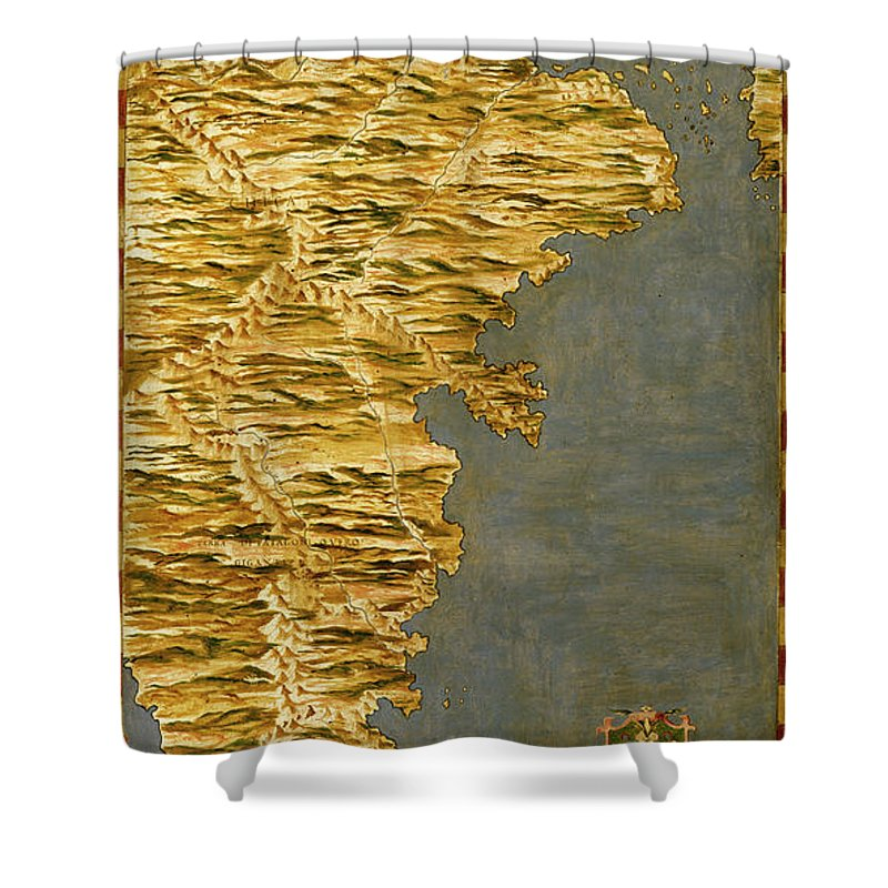 Map Shower Curtain featuring the painting Chile And Argentina With The Strait Of Magellan by Italian painter of the 16th century