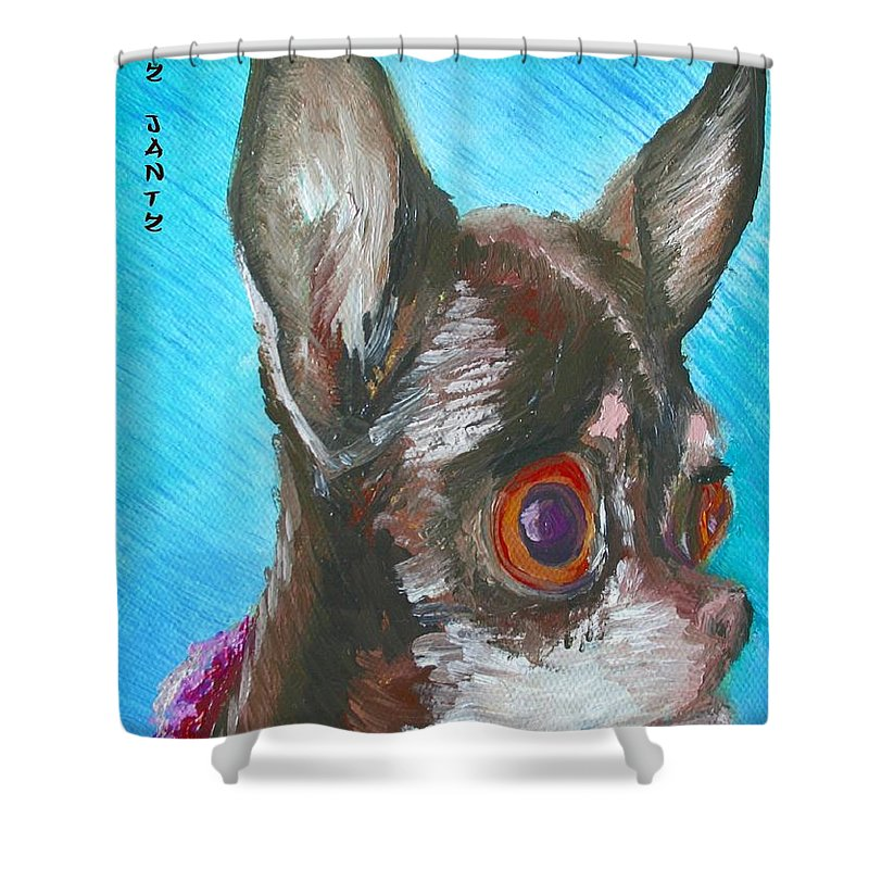 Dog Shower Curtain featuring the painting Chili Chihuahua by Minaz Jantz
