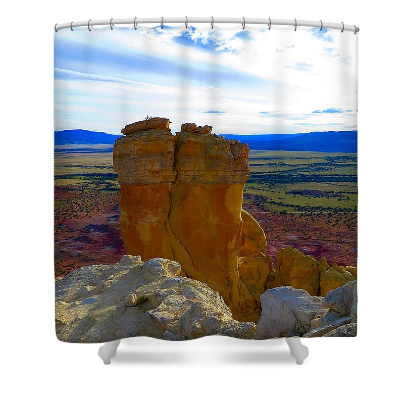 Ghost Ranch Shower Curtain featuring the photograph Chimney Rock by Alanna Morris