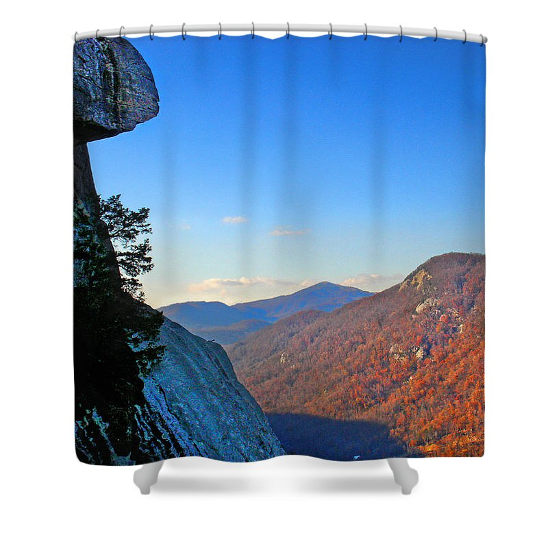 Landscape Shower Curtain featuring the photograph Chimney Rock 2 by Steve Karol