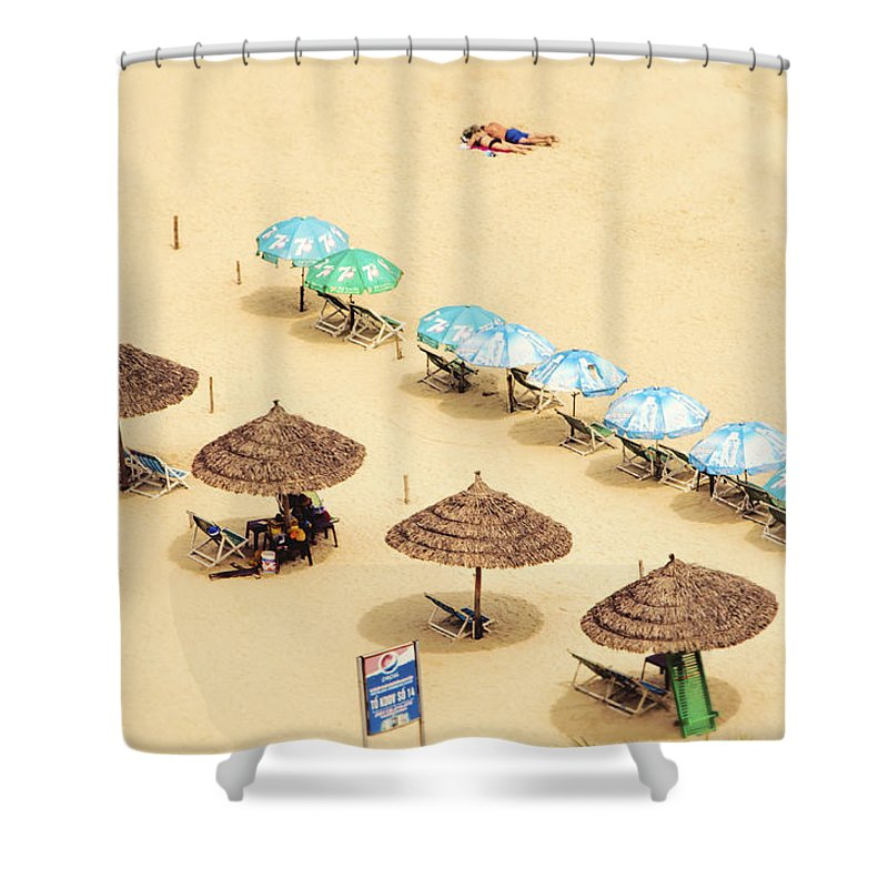 Vietnam Shower Curtain featuring the photograph China Beach Da Nang by Claude LeTien