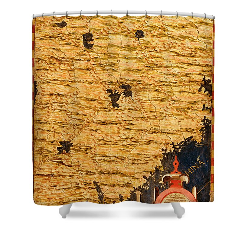 Map Shower Curtain featuring the painting China by Italian painter of the 16th century