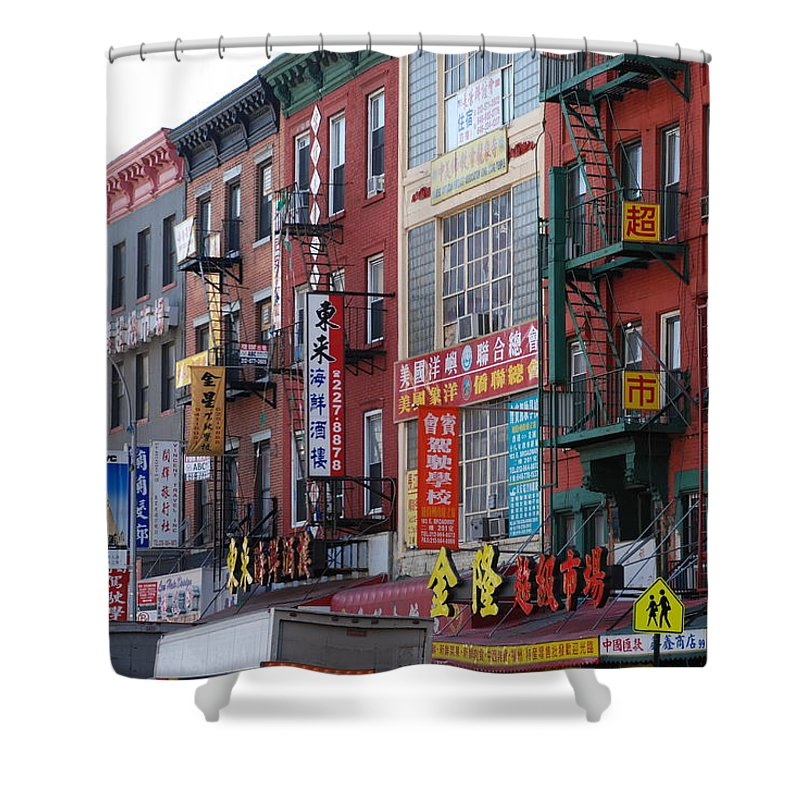 Architecture Shower Curtain featuring the photograph China Town Buildings by Rob Hans