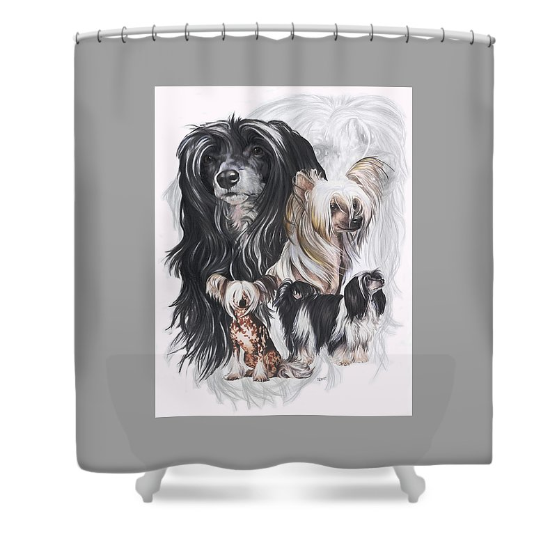 Toy Class Shower Curtain featuring the mixed media Chinese Crested And Powderpuff W/ghost by Barbara Keith