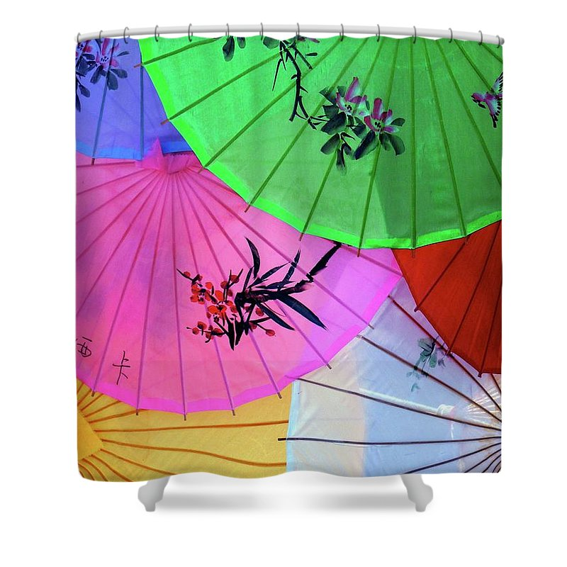 Parasols Shower Curtain featuring the photograph Chinese Parasols by Nora Martinez