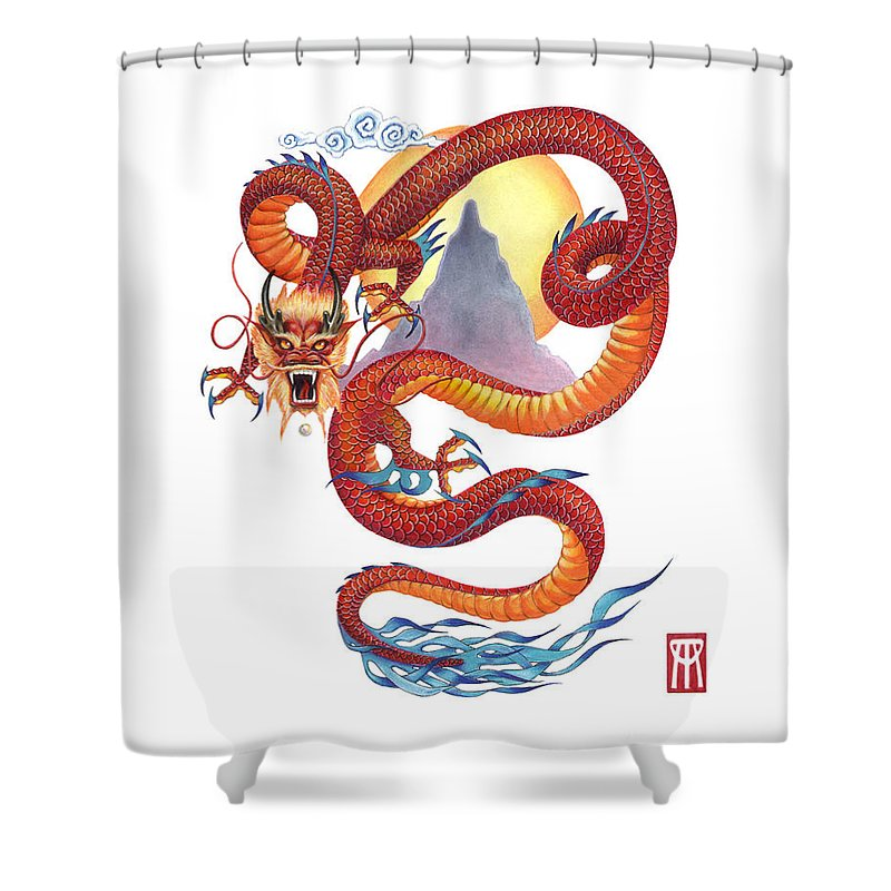 Dragon Shower Curtain featuring the painting Chinese Red Dragon by Melissa A Benson