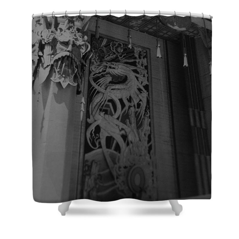Black And White Shower Curtain featuring the photograph Chinese Theater by Rob Hans