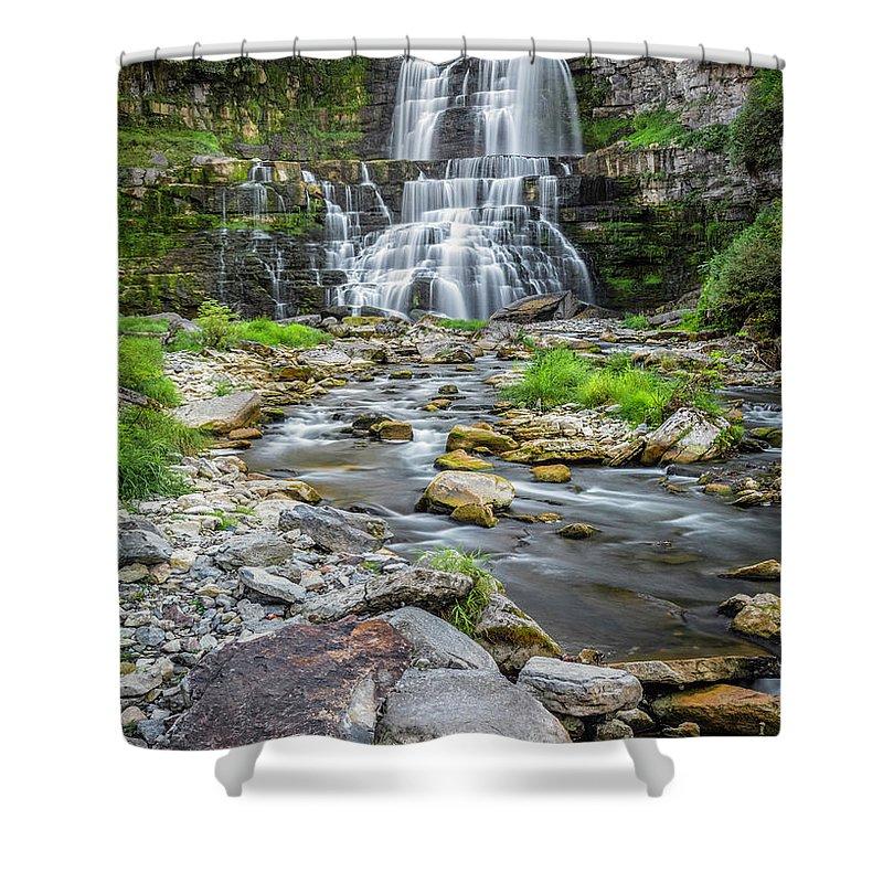 New York Shower Curtain featuring the photograph Chittenango Falls In Autumn by Karen Jorstad