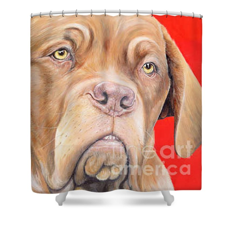 Dogs De Bordeaux Shower Curtain featuring the painting Chloe by Keran Sunaski Gilmore