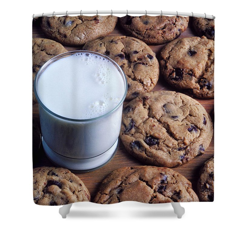 Chocolate Chip Shower Curtain featuring the photograph Chocolate Chip Cookies And Glass Of Milk by Garry Gay