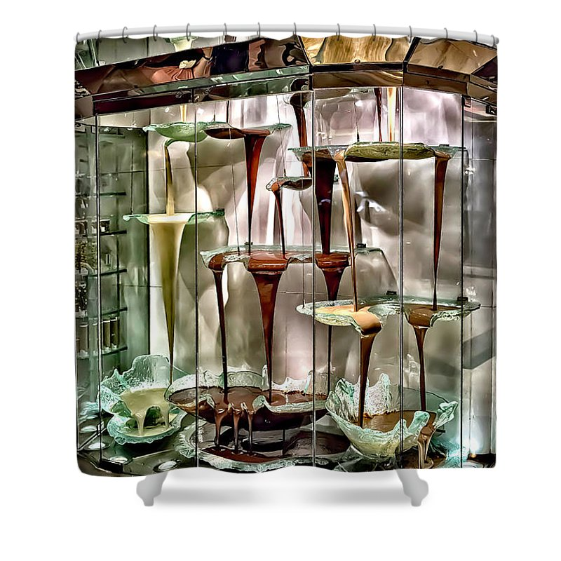 Chocolate Shower Curtain featuring the photograph Chocolate Fountain In Bellagio by Walt Foegelle