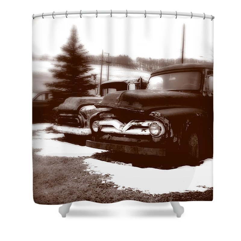 Old Cars Shower Curtain featuring the photograph Chocolate Ghosts by Jean Macaluso