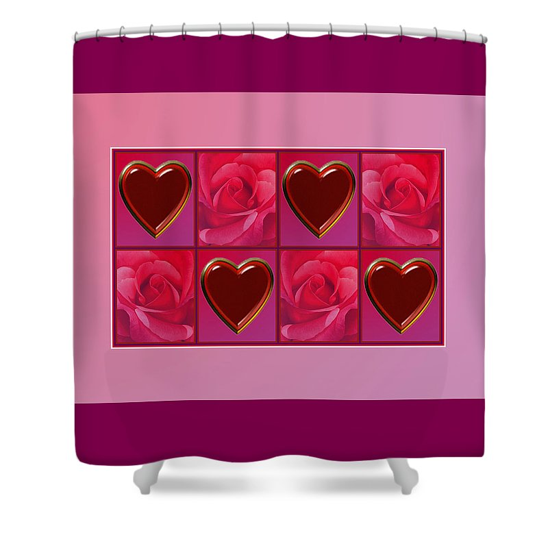 Valentine Card Shower Curtain featuring the digital art Chocolate Hearts And Roses by Melissa A Benson