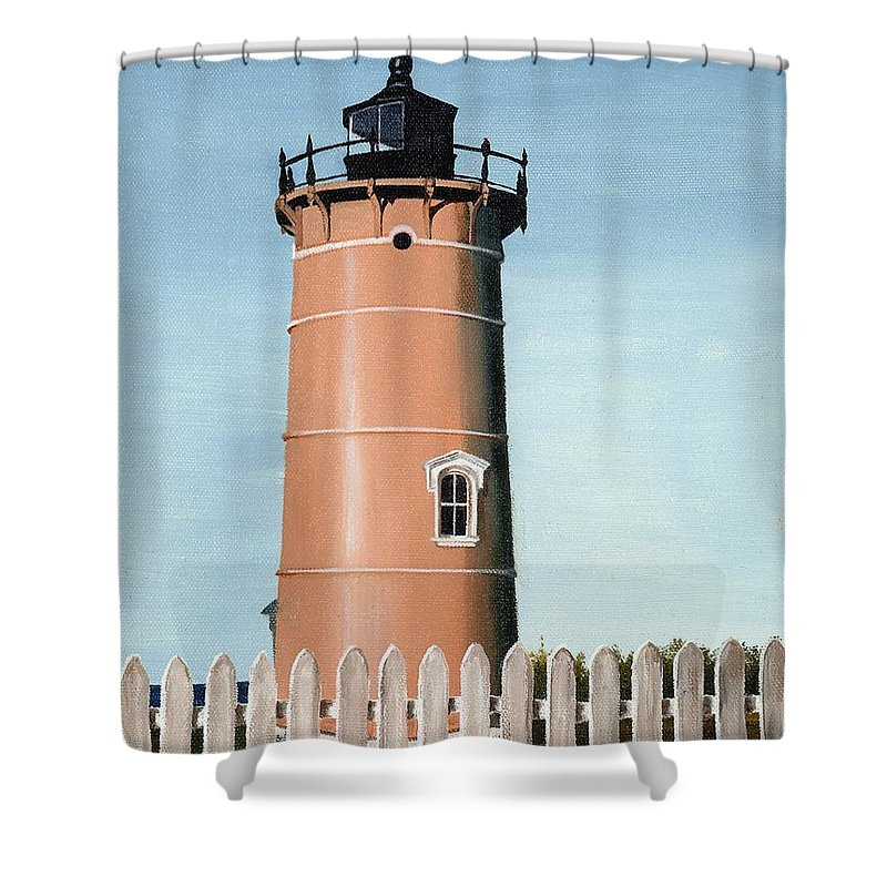 Lighthouse Shower Curtain featuring the painting Chocolate Lighthouse by Mary Rogers