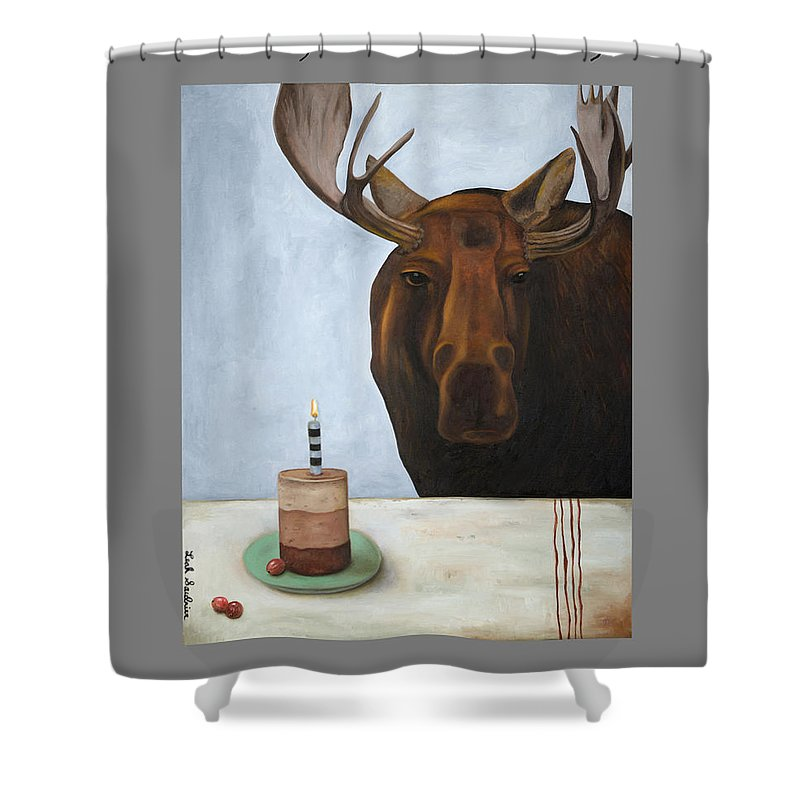 Moose Shower Curtain Featuring The Painting Chocolate Anniversary Image By Leah Saulnier Maniac