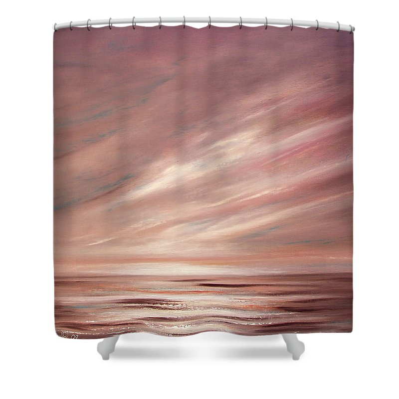 Brown Shower Curtain featuring the painting Chocolate Shake Sunset by Gina De Gorna