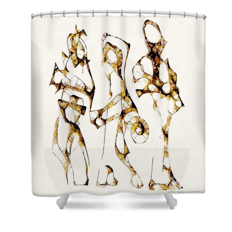 Abstraction Shower Curtain featuring the digital art Choice 3631 by Marek Lutek