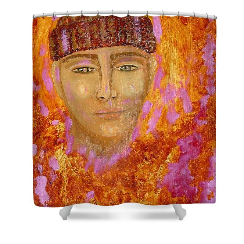 Portrait Shower Curtain featuring the painting Choices by Laurie Morgan