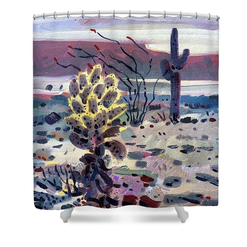 Cholla Shower Curtain featuring the painting Cholla Saguargo And Ocotillo by Donald Maier