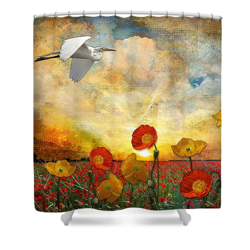 Landscape Shower Curtain featuring the digital art Choose To Fly by Laura Lipke