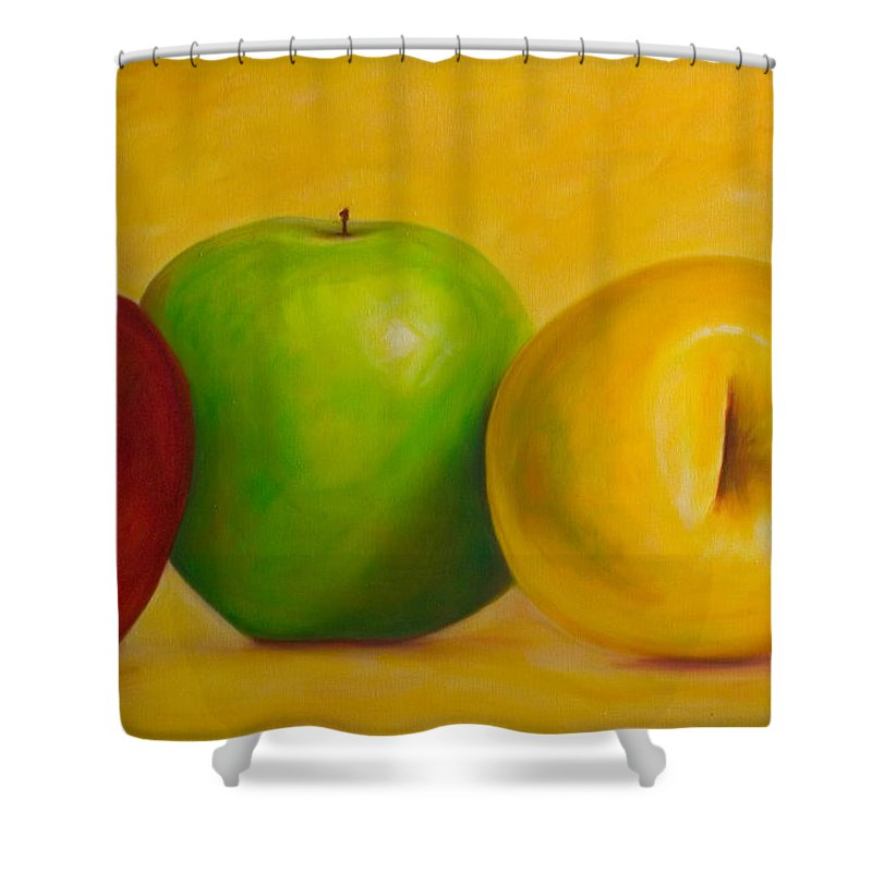 Still Life Shower Curtain featuring the painting Chorus Line by Shannon Grissom