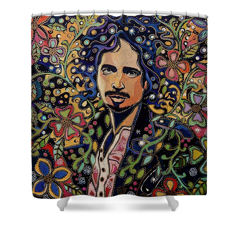 Chris Cornell Shower Curtain featuring the painting Chris Cornell by PA Mathison