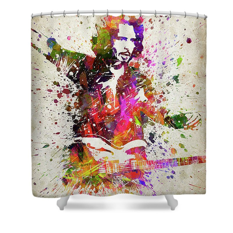 Chris Cornell Shower Curtain featuring the digital art Chris Cornell Portrait by Aged Pixel