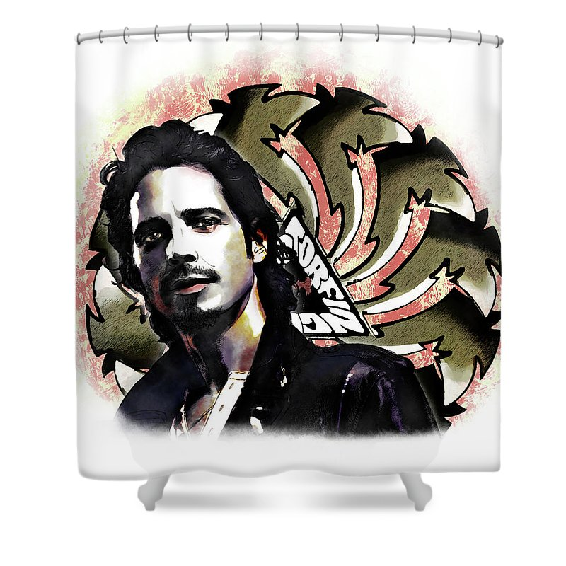 Chris Cornell Shower Curtain featuring the digital art Chris Cornell by Robert Barsby