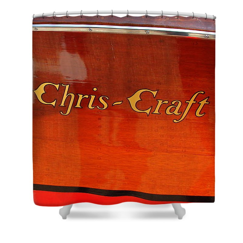 Logo Shower Curtain featuring the photograph Chris Craft Logo by Michelle Calkins