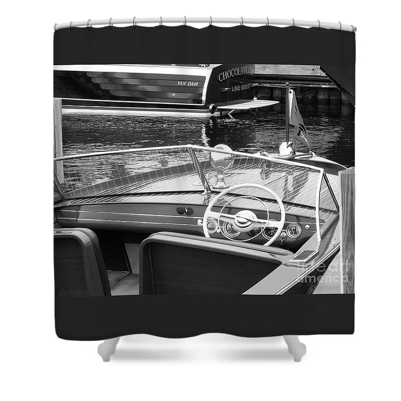 Chris Craft Shower Curtain featuring the photograph Chris Craft Utility by Neil Zimmerman