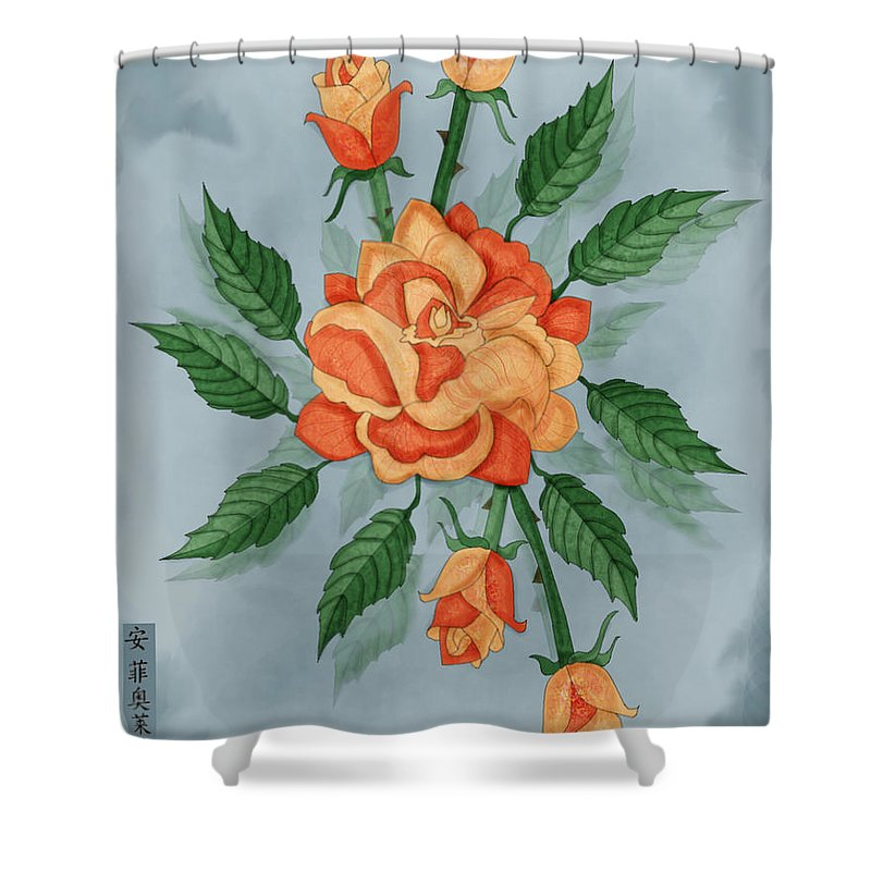 Floral Shower Curtain featuring the painting Christ And The Disciples Roses by Anne Norskog